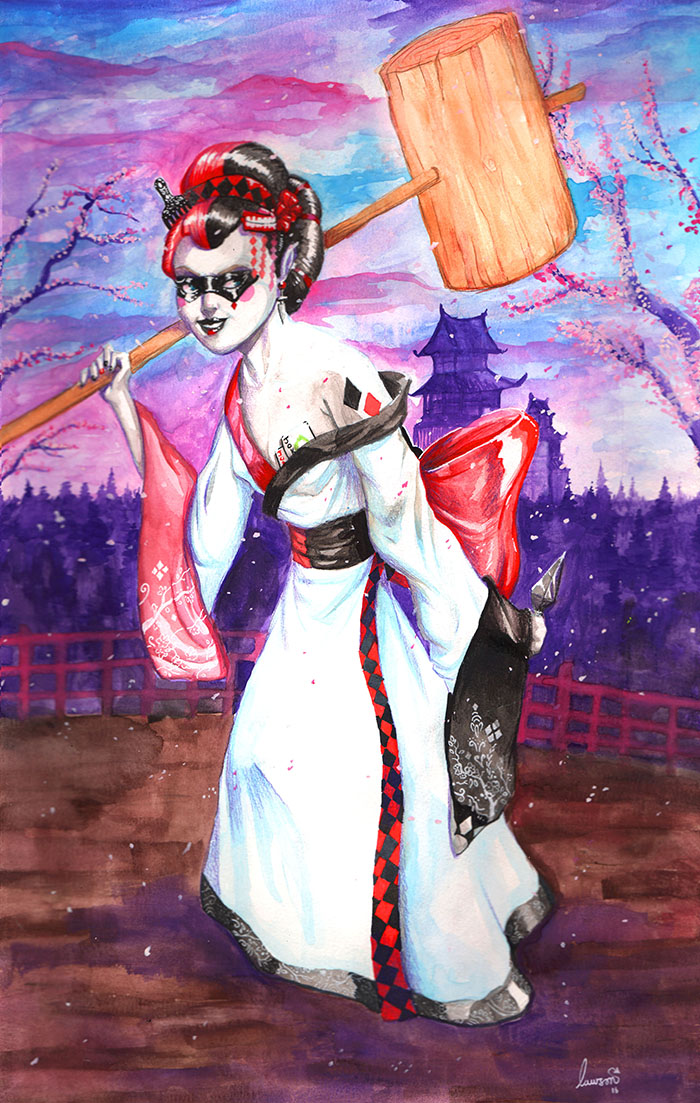 geisha_HarleyQuinn_Watercolor_web