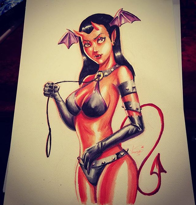 Marker commission of a succubus done eccc. Still time to come get a custom drawing from me while im at the show. Booth N-19#pinup #devilgirl #succubus #copic #artistalley #horny #diablo #burlesque #bdsm #rockabilly #kustomkulture #badgirl #spicydonut